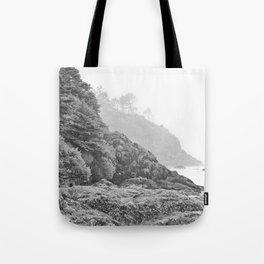 Washington Coast Mist Fog Shoreline Beach Pacific Ocean Long Beach Beards Hollow Forest Northwest Tote Bag