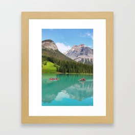Boats on Emerald Lake Framed Art Print