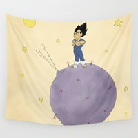vegeta Wall Tapestries featuring The Little Prince Of Saiyans by Agu Luque