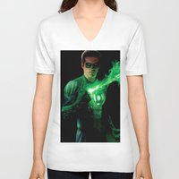 green lantern V-neck T-shirts featuring Green Lantern by Styleman D