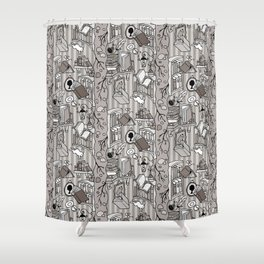 Books: Through the rabbit hole_Warm Gray Shower Curtain