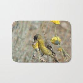 Mr. Lesser Goldfinch Feeds on Seeds Bath Mat
