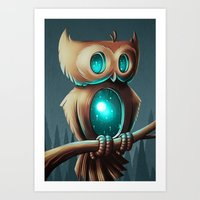 owl Art Prints featuring Night Owl by Chump Magic