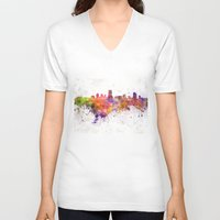 milwaukee V-neck T-shirts featuring Milwaukee skyline in watercolor background by Paulrommer