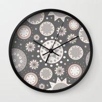 milky way Wall Clocks featuring Milky Way by Moon Rabbit Design