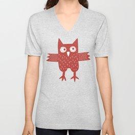 Red Owl Illustration Unisex V-Neck