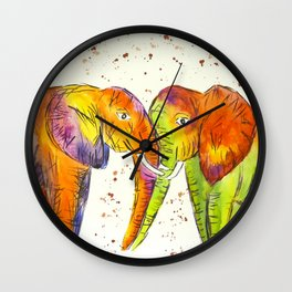 Colourful Elephants Kissing Wall Clock