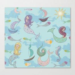 Mermaids, Sea and Boats Pattern Canvas Print