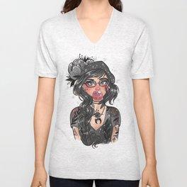 hipster girl Unisex V-Neck