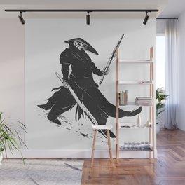 Samurai skull - japanese evil - black and white - fighter illustration - grim reaper cartoon Wall Mural