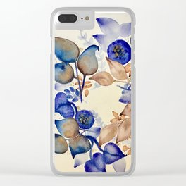 Blueberry Gold Leaf Wreath Clear iPhone Case