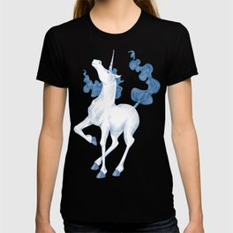 Stencil Unicorn on Teal Sky and Cloud Spray T-shirt