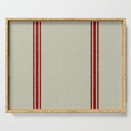 Red Stripes on Linen color background French Grainsack Distressed Country Farmhouse Serving Tray