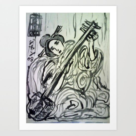 GEISHA MUSICIAN Art Print