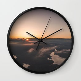 Sea of clouds during  sunset Wall Clock
