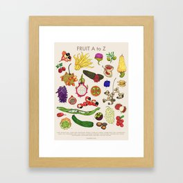 Bizarro Fruit - A to Z poster Framed Art Print