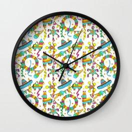 Mexican Fiesta Pinata Pattern Wall Clock