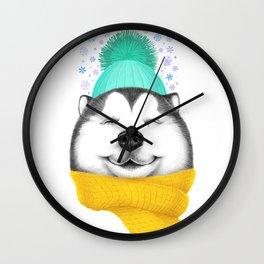 Winter Husky Wall Clock