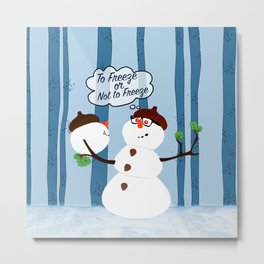 Funny Snowman Holiday Design Metal Print