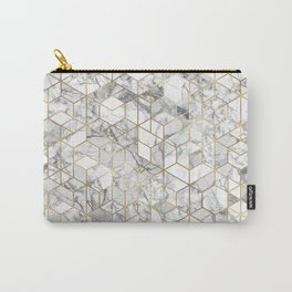 White marble geomeric pattern in gold frame Carry-All Pouch