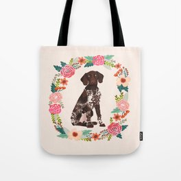 german shorthair pointer floral wreath spring dog breed pet portrait gifts Tote Bag