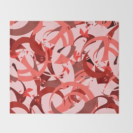 Abstract Curls - Burgundy, Coral, Pink Throw Blanket