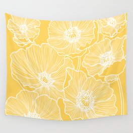 Sunshine Yellow Poppies Wall Tapestry