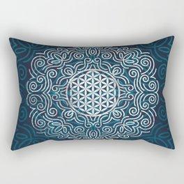 Flower Of Life (Silver Lining) Rectangular Pillow