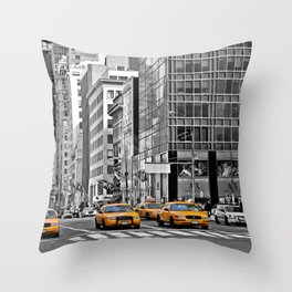 NYC - Yellow Cabs - Police Car Throw Pillow