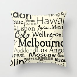 Cities of the World BucketList Throw Pillow