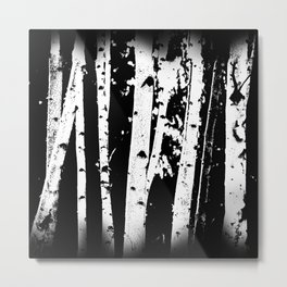 Black and White Birch Trees Fade Out Metal Print