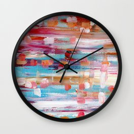 Abstract Acrylic Painting - Multi Color Pattern Wall Clock