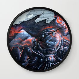 Astronaut Mural Royal Stain Wall Clock