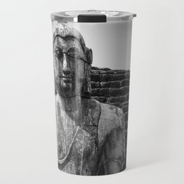 Buddha statue seated around stupa of The Polonnaruwa Vatadage Travel Mug