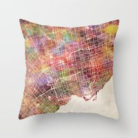 toronto Throw Pillows featuring Toronto by MapMapMaps.Watercolors