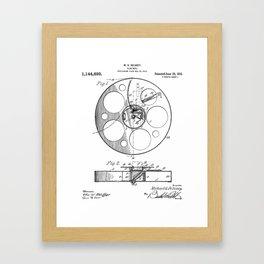 Film Reel Patent - Classic Cinema Art - Black And White Framed Art Print