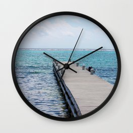 Pier in Ocean Wall Clock