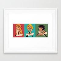 powerpuff girls Framed Art Prints featuring Powerpuff Girls by Angie Nasca