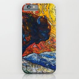 Wild the Storm Bison Painting by OLena Art iPhone Case