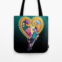 kingdom hearts Tote Bags featuring Kingdom of Adventure // Adventure Time // Hearts by ⚡eizure ⚡quid ⚡tudio