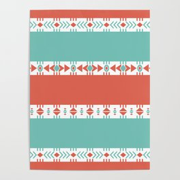South Western Print in Modern Aqua Turquoise and Coral Geometric Diamonds Arrows Triangles Circles Poster