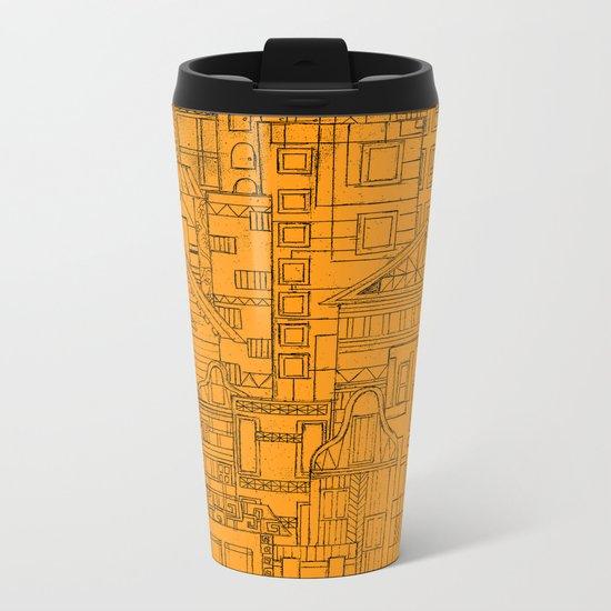 Houses - orange Metal Travel Mug