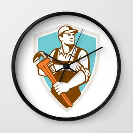 Plumber Monkey Wrench Rolling Sleeve Shield Retro Wall Clock