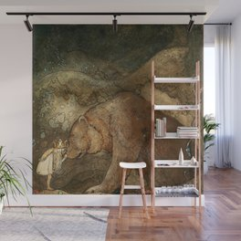 """""""She Kissed the Bear"""" by John Bauer Wall Mural"""