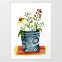 Vaso con flores Art Print