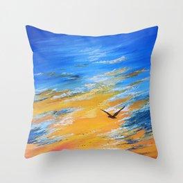 ocean sunset, original oil painting landscape, blue wall art, beach decor Throw Pillow