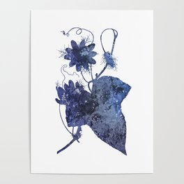 Watercolor Indigo Passion Flower Poster