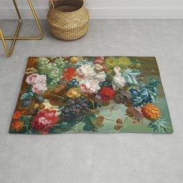 """Jan van Os """"Fruit and Flowers in a Terracotta Vase"""" Rug"""