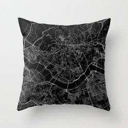 Seoul Black Map Throw Pillow