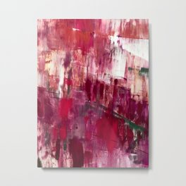 Sunset in the Valley [2]: a colorful abstract piece in reds, pink, gold, gray, and white Metal Print